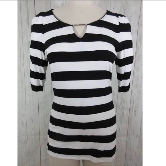 White House Black Market Tops - WHBM ruched striped short sleeve top